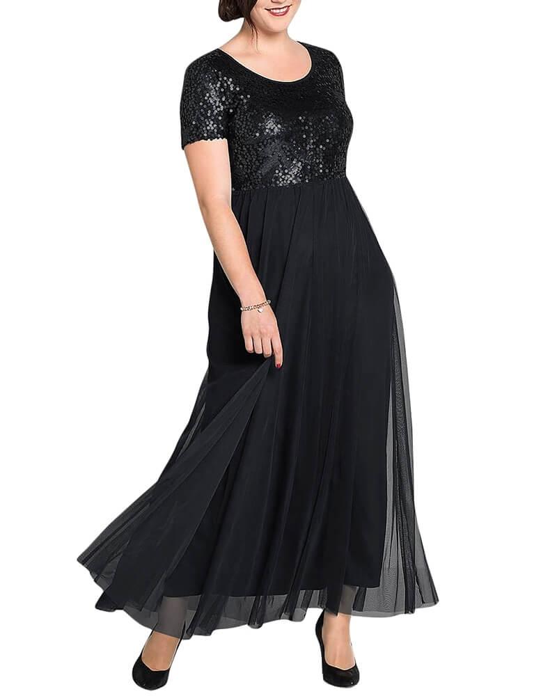 Sequin Embellished Sheer Panelled Long Black Dress