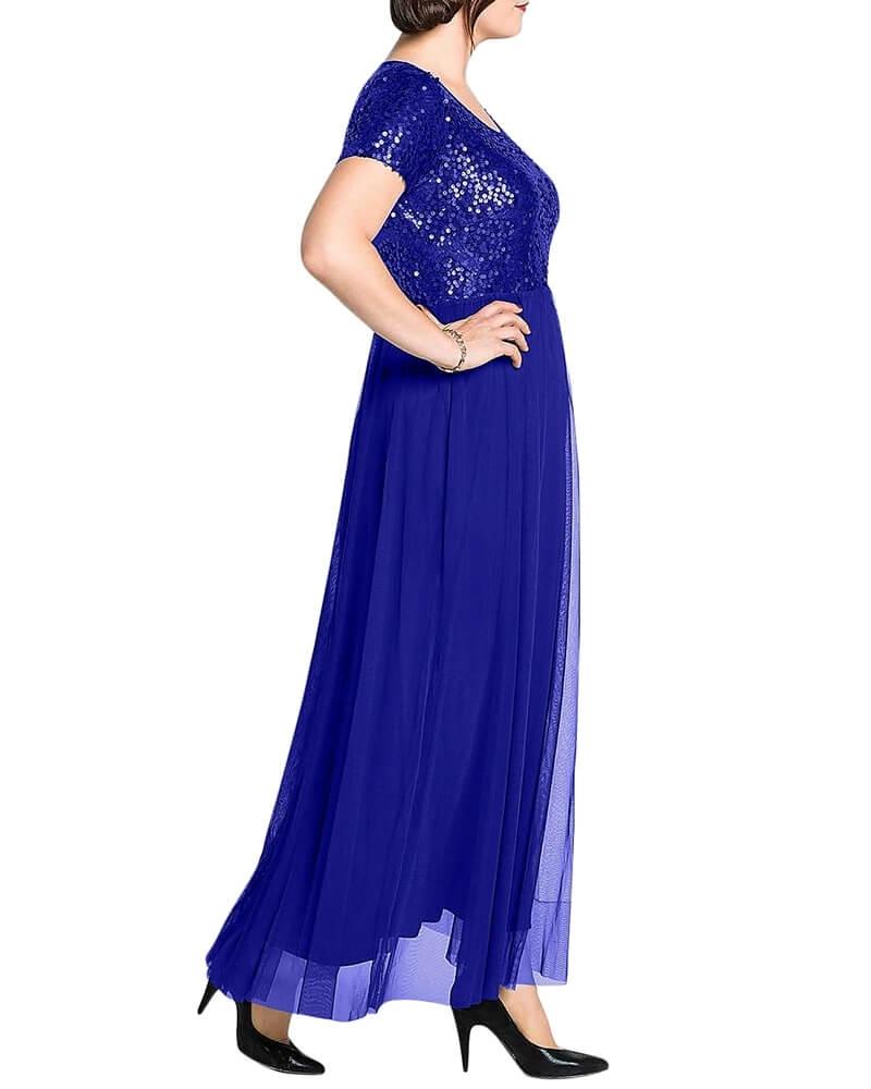 Sequin Embellished Sheer Panelled Long Blue Dress