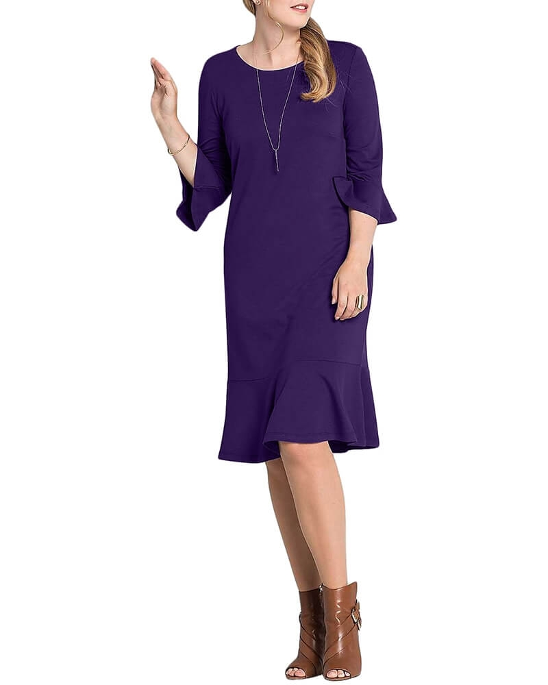 Solid Three Quarter Sleeved Peplum Hem Dress