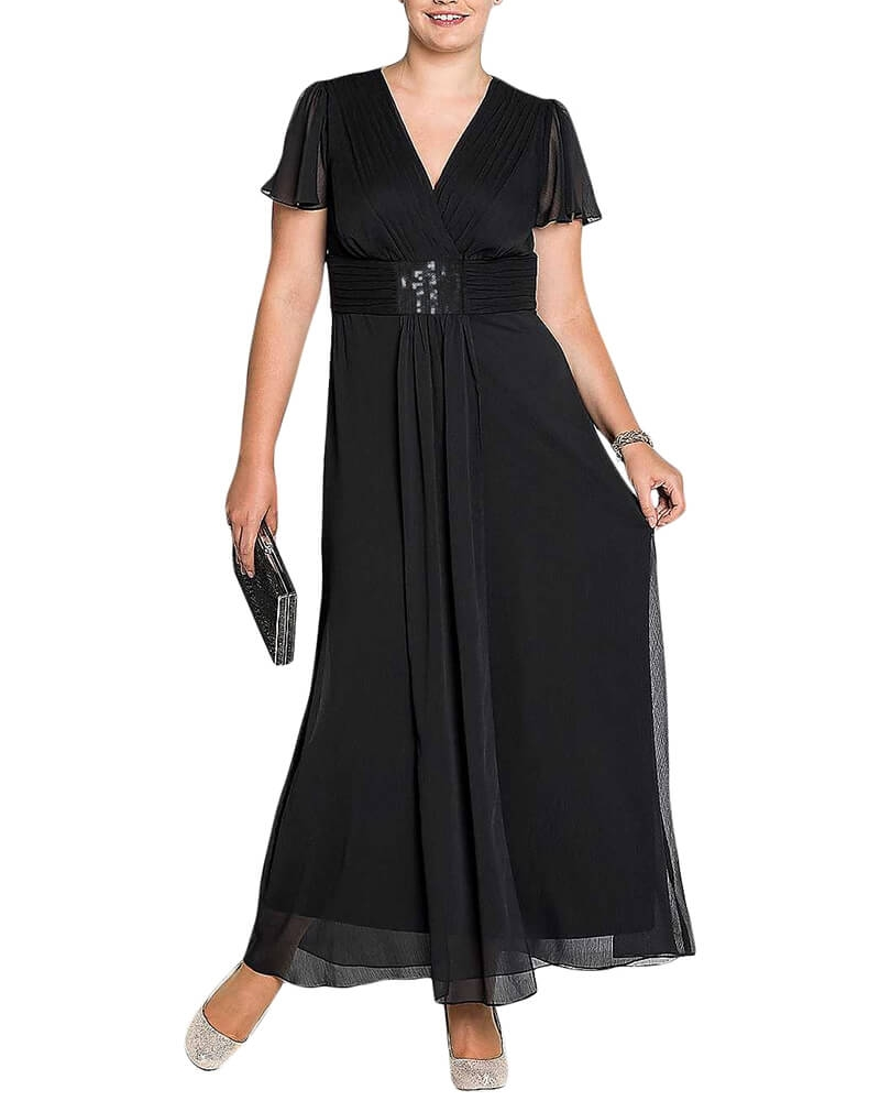 Solid Black Pleated V Neck Maxi Dress