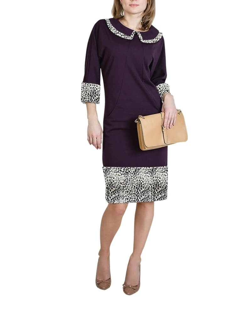 Autumn Knitted Everyday Dress with a Collar