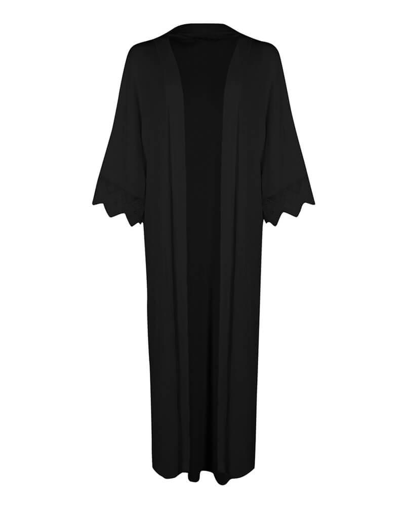Long Classic Black Front Open Kimono Shrug