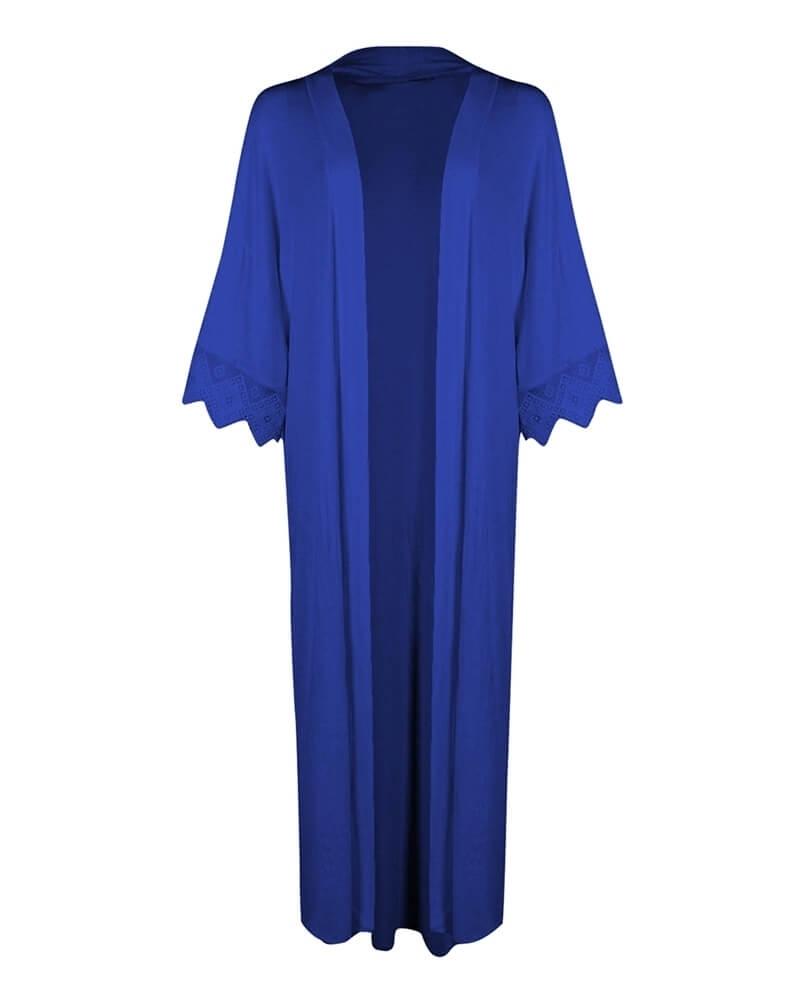 Long Classic Blue Front Open Kimono Shrug