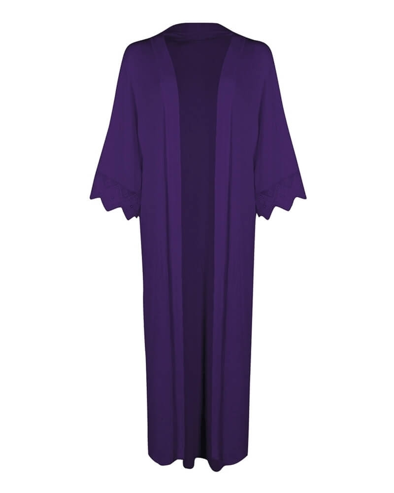 Long Classic Purple Front Open Kimono Shrug