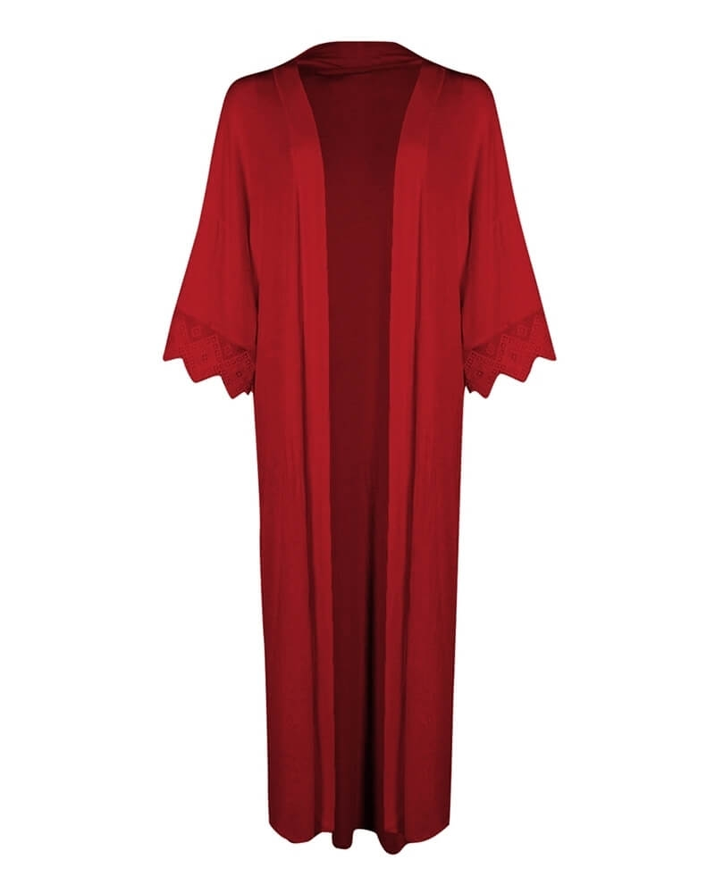 Long Classic Red Front Open Kimono Shrug