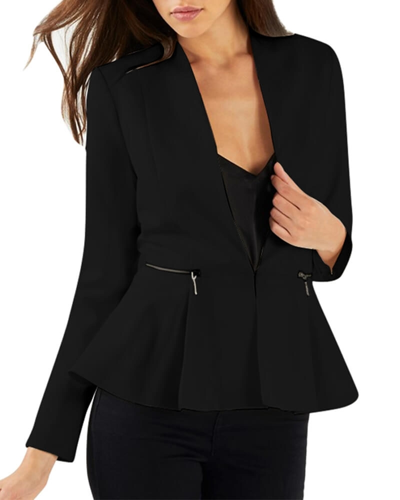 Lina Peplum Blazer for Women Black