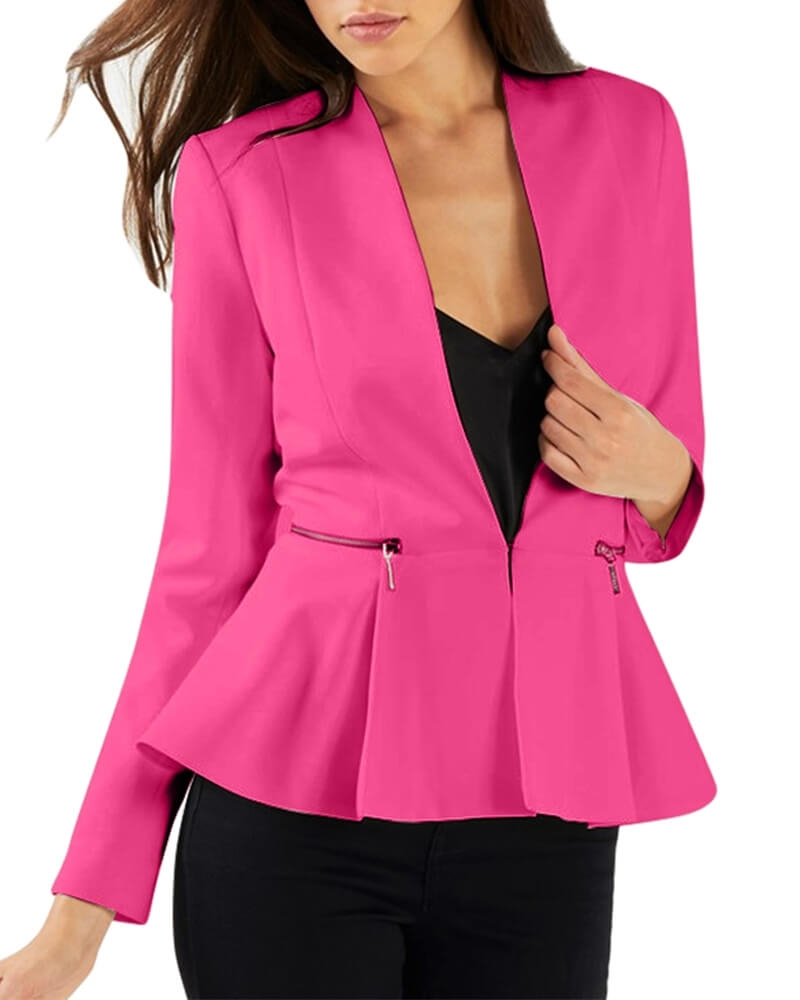 Lina Peplum Blazer for Women Pink
