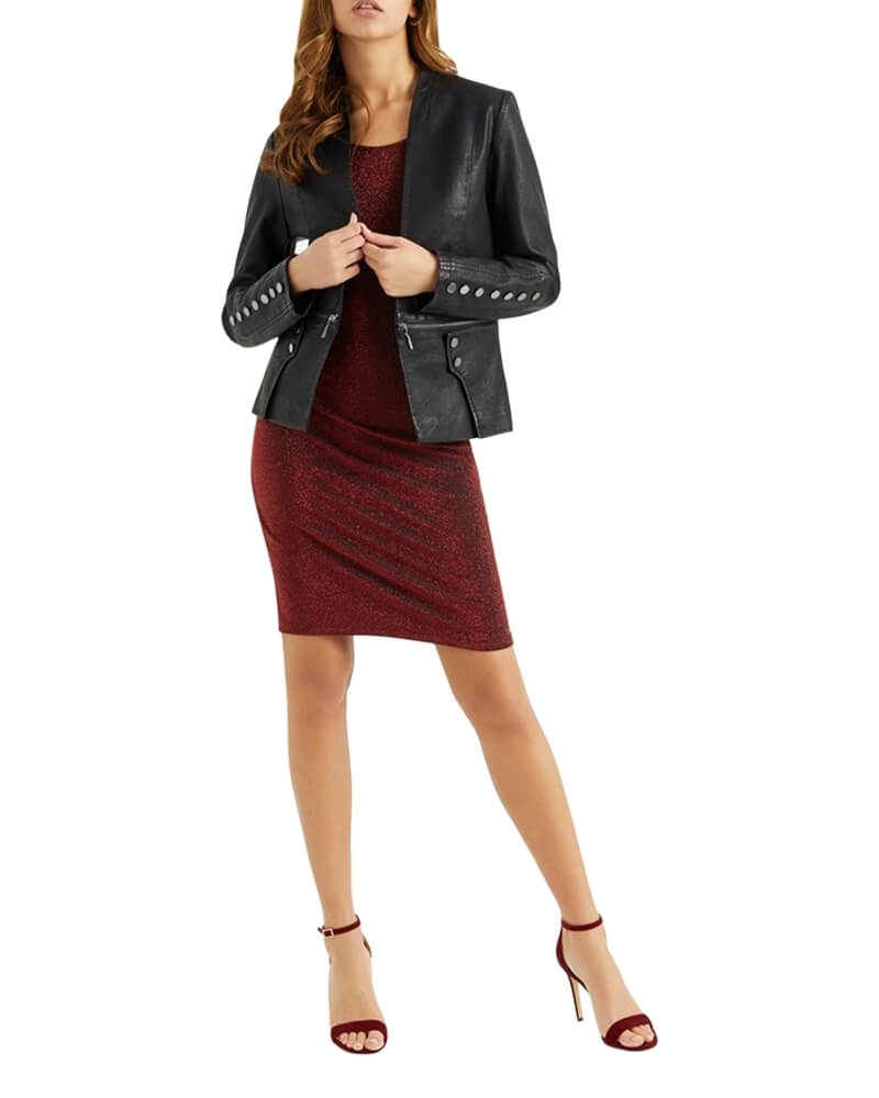 Faux Leather Black Jacket for Girls