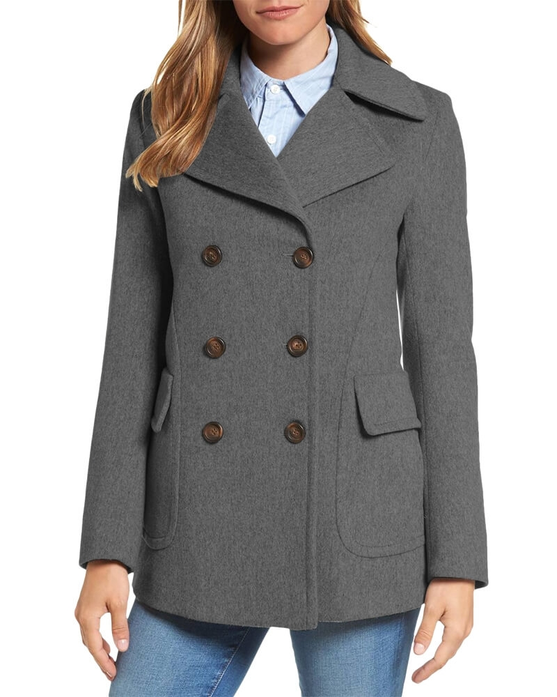 Modish Grey Pea Coat for Women