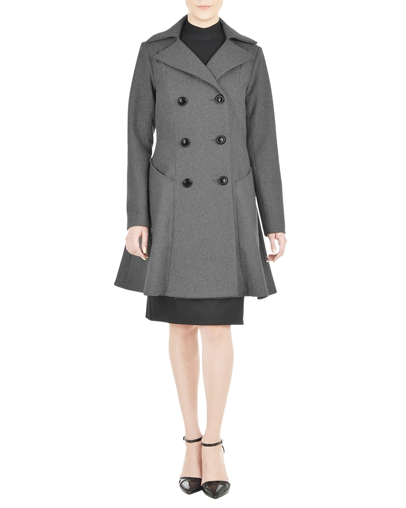 Flared Grey Womens Pea Coat