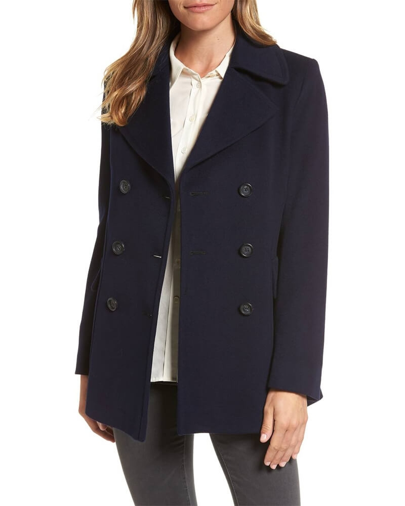 Modish Navy Pea Coat for Women