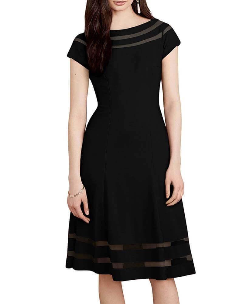 Sheer detail dress black