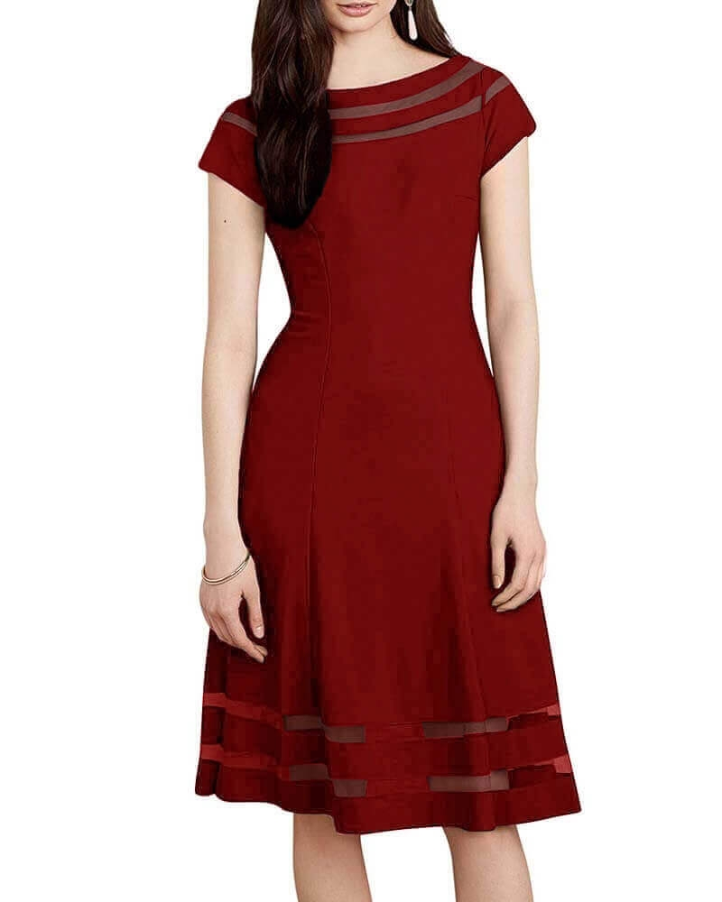 Sheer detail dress red