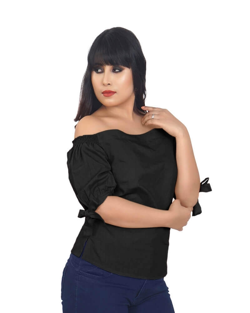 DETACHABLE COLD SHOULDER BLACK TOP