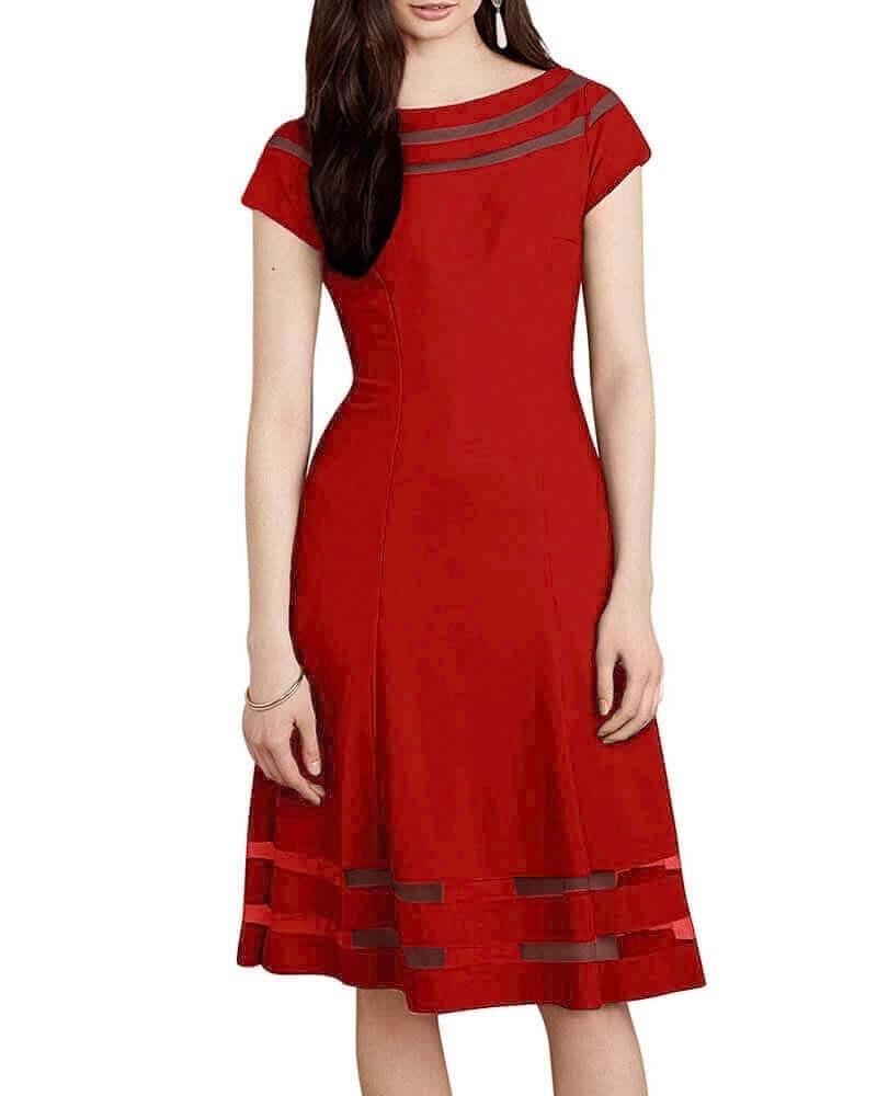Sheer detail dress red