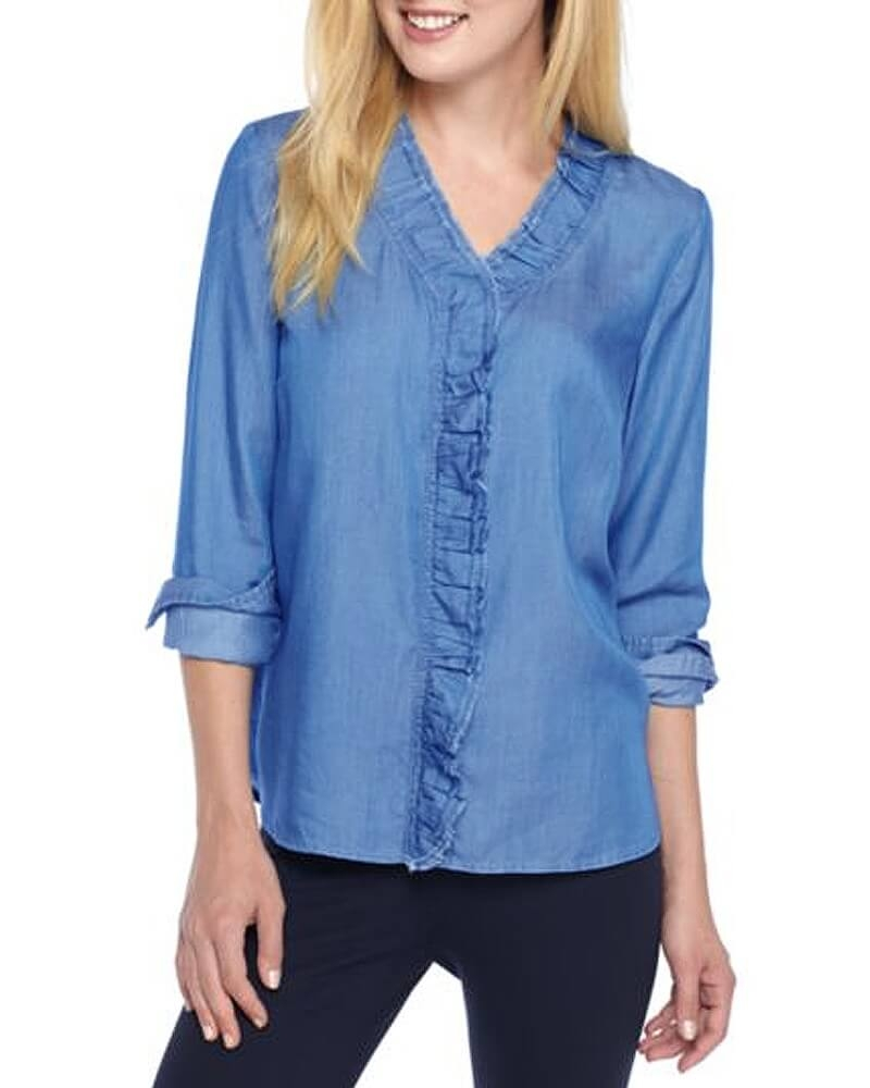 V Neck Ruffle Casual Denim Shirt for Women