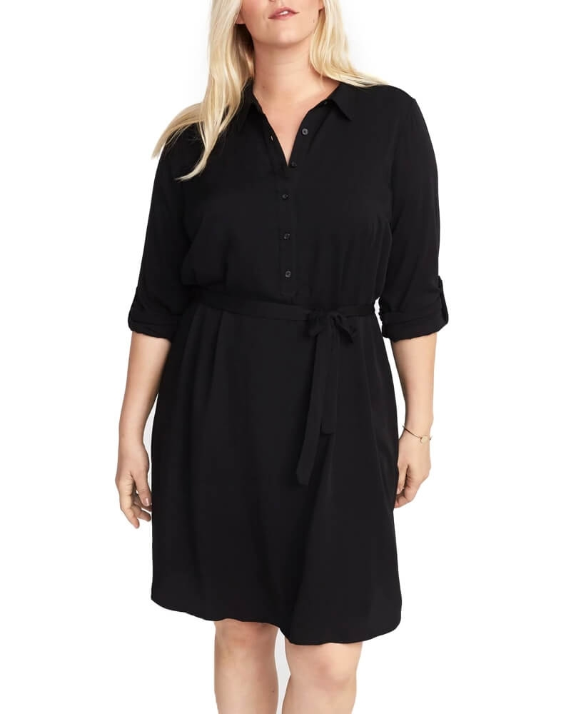 Solid Black Flare Women Dress
