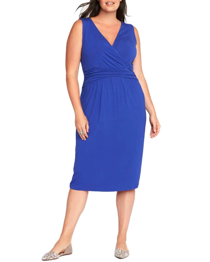 Elegant Solid Blue Slim Fit Party Dress