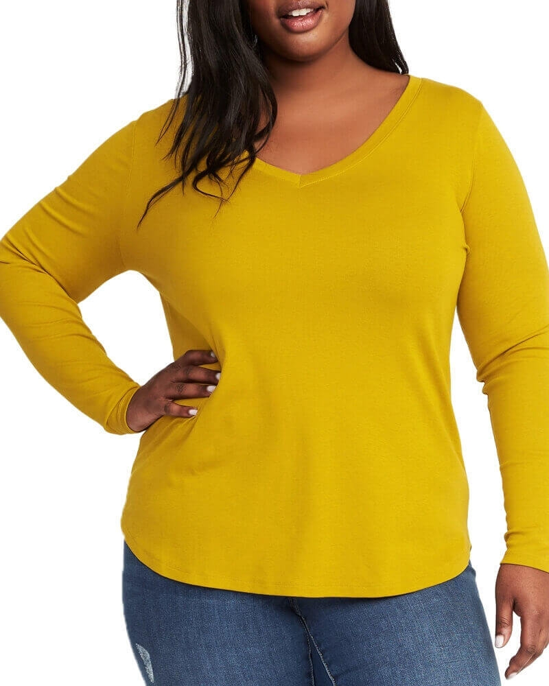 Yellow Long Sleeved V neck Top