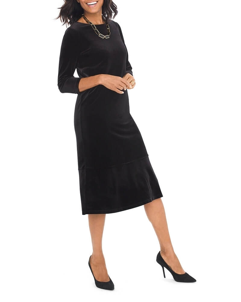 Classic Velvet Black Dress For Womens