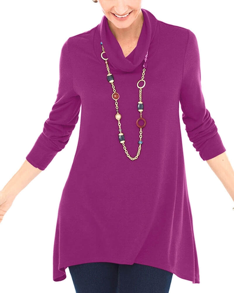 Iconic Purple Cowl Neck Top for Women