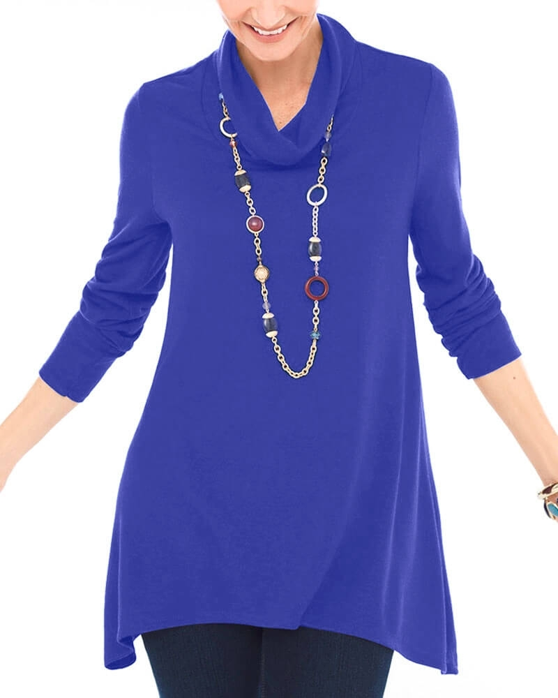 Womens Cute Blue Cowl Neck Top