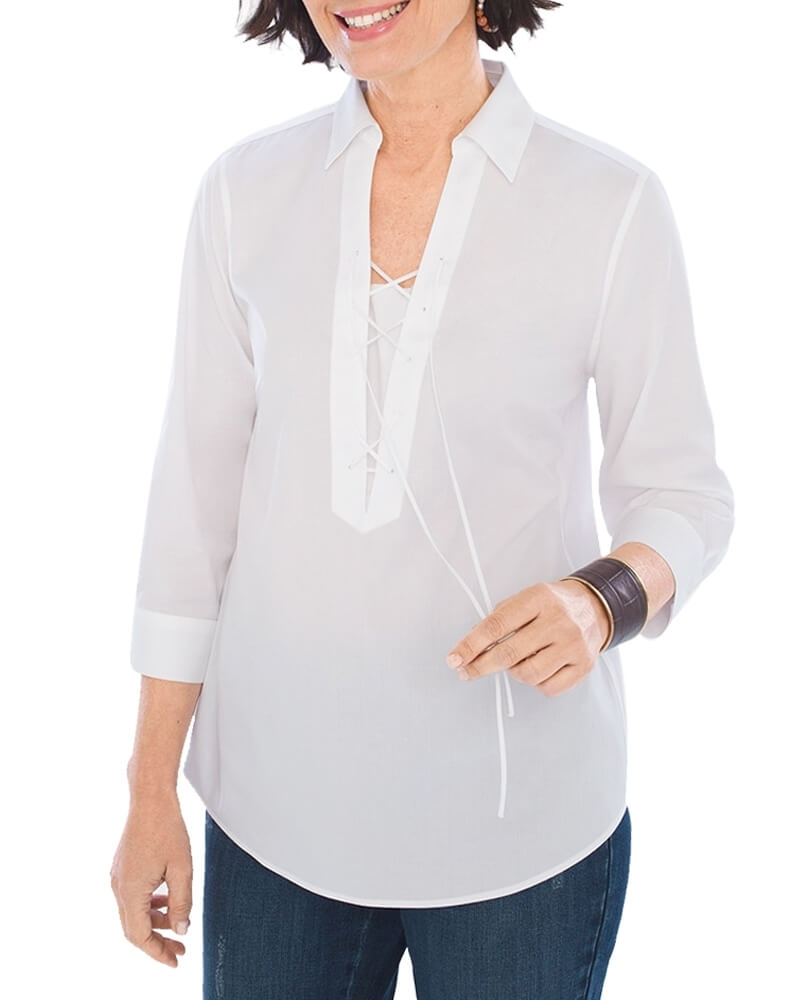 Relaxing White Womens Cotton Tunic Shirt