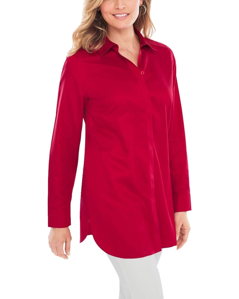 Radiant Red Collared Shirt for Women