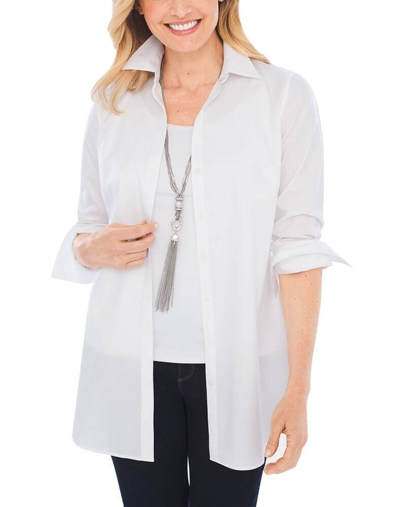 White Cotton Poplin Shirt for Women