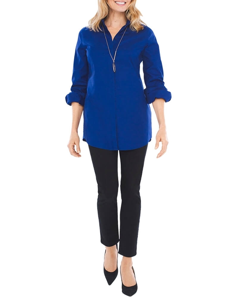 Beaming Blue Cotton Womens Shirt