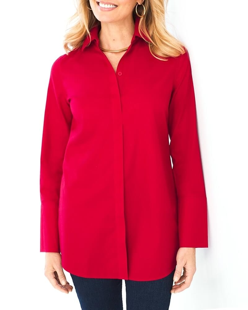 Rosy Red Cotton Womens Shirt
