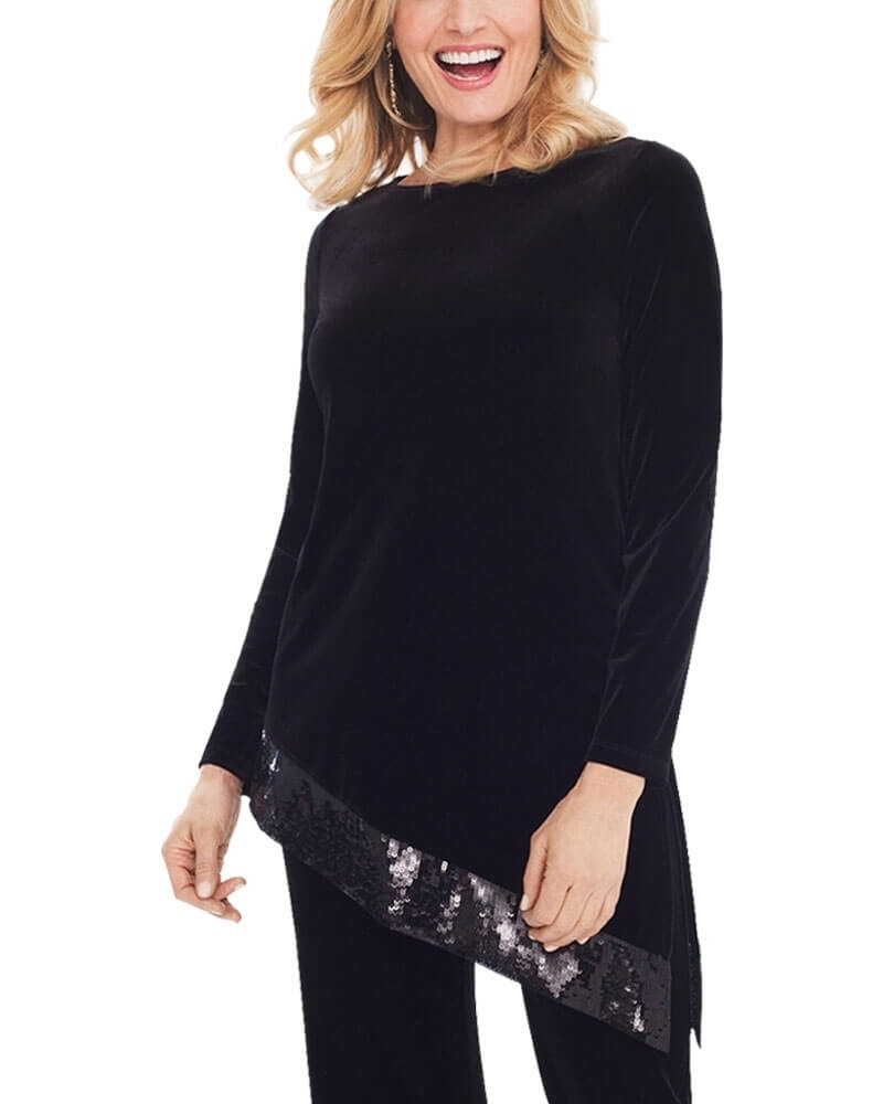 Velvet Black Asymmetric Sequin Top