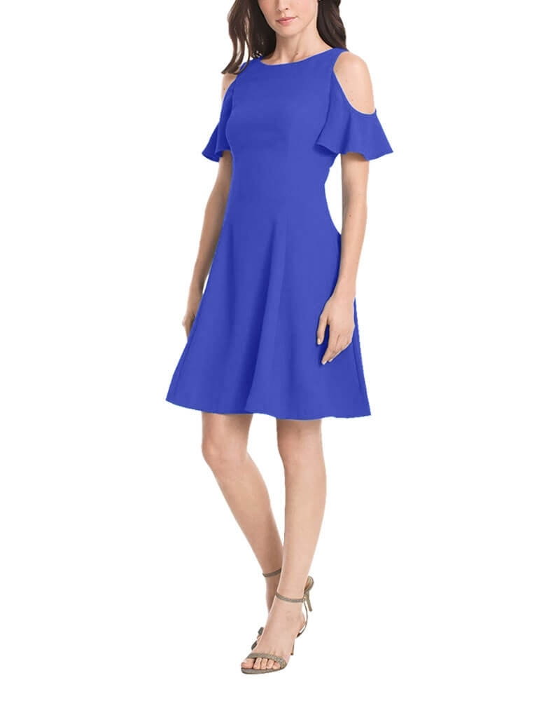 Stylish Blue Cold Shoulder Party Dress