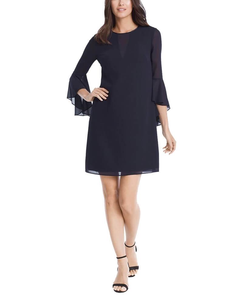 Georgette Navy Blue Shift Dress