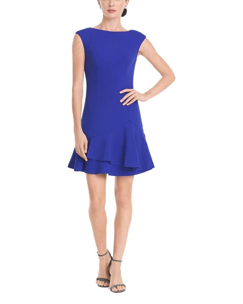 Solid Blue Ruffle Hem Shift Dress