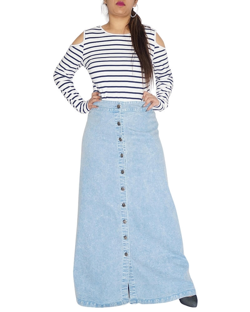 Divine Blue Long Denim A Line Skirt