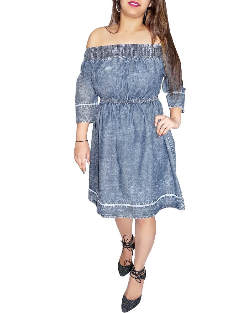 Cute Off  Shoulder Blue Chambray Dress