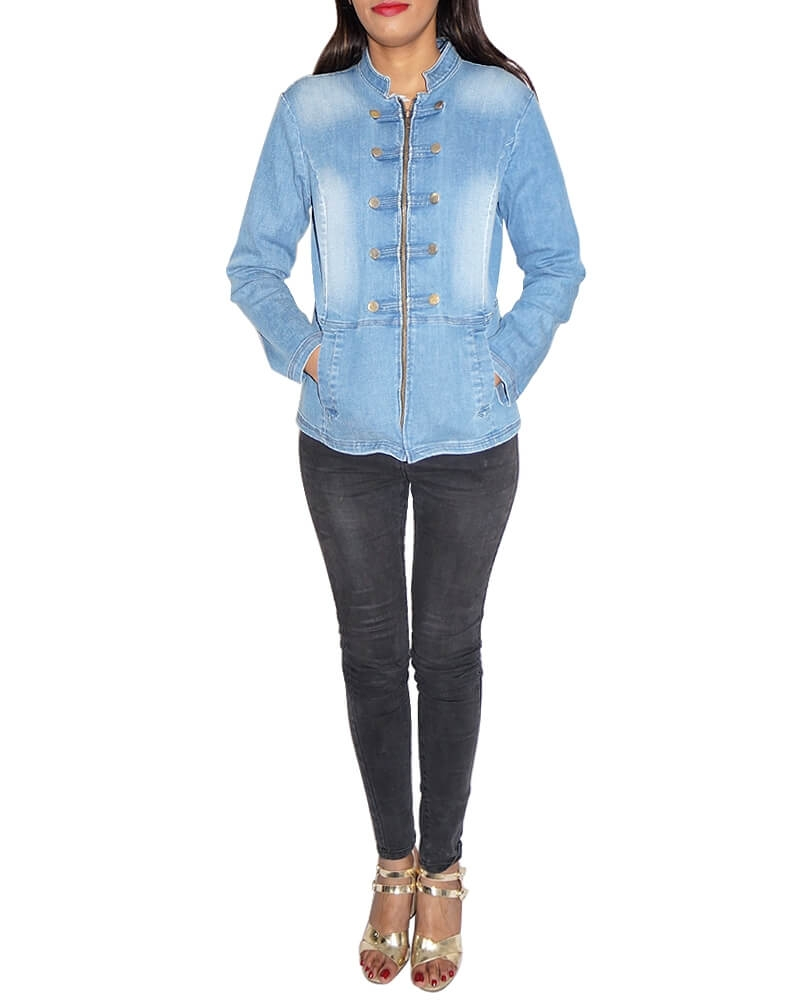 Classic Blue Full Sleeve Denim Jacket for Women
