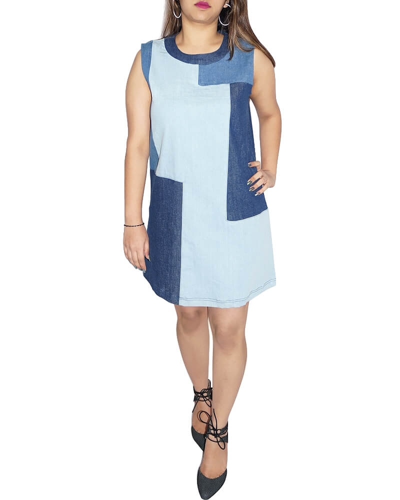 Multiple Blue A Line Sleeveless Denim Patch Dress