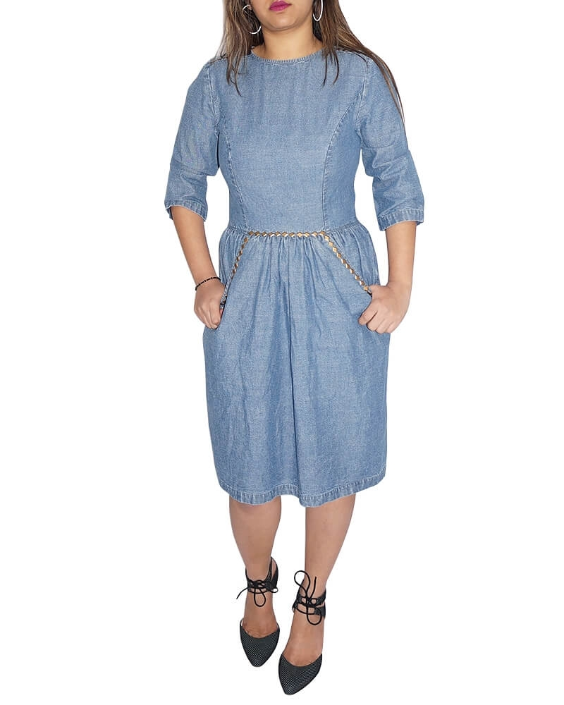 Sombre Blue Chambray Dress for Women