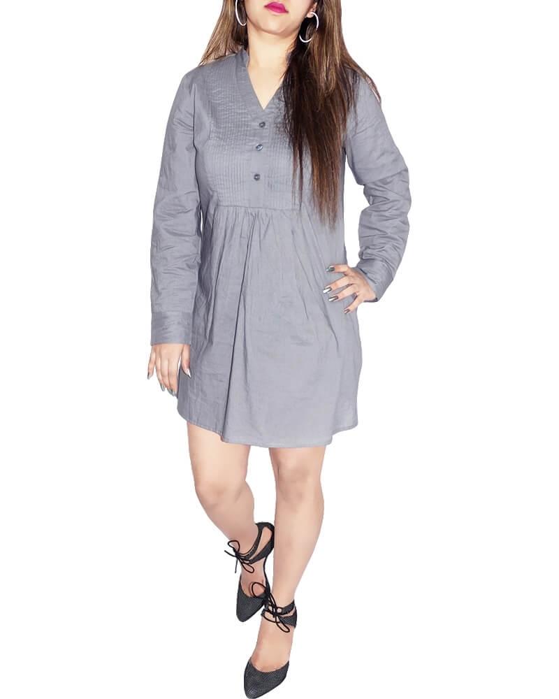Graceful Gray Cambric Shirt Dress for Women