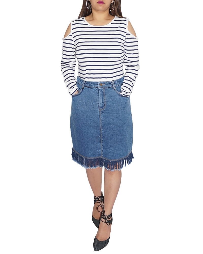 Printed Fitzgerald fringed hem denim skirt