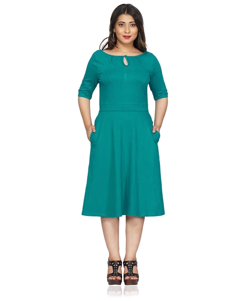 Teal blue Fit and Flare Dress with Sleeves