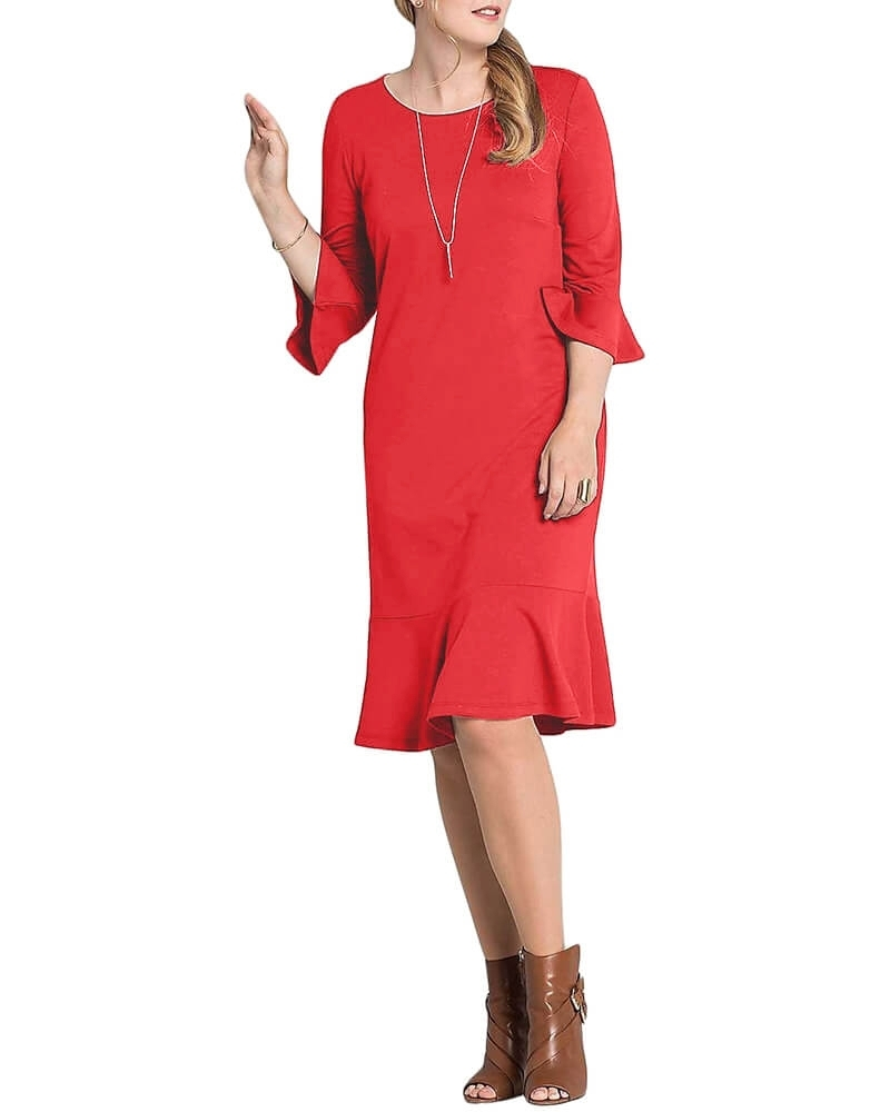 Solid Three Quarter Sleeved Peplum Hem Dress