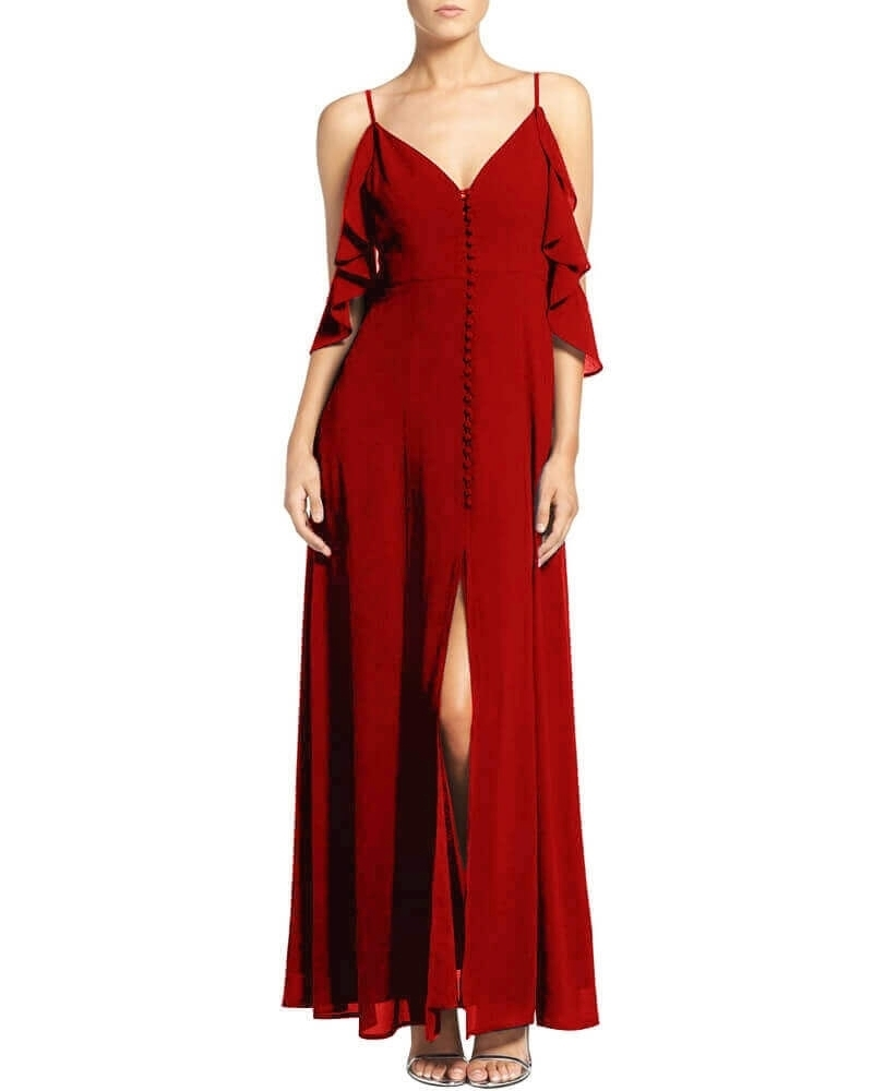 Peyton fluttery maxi dress red