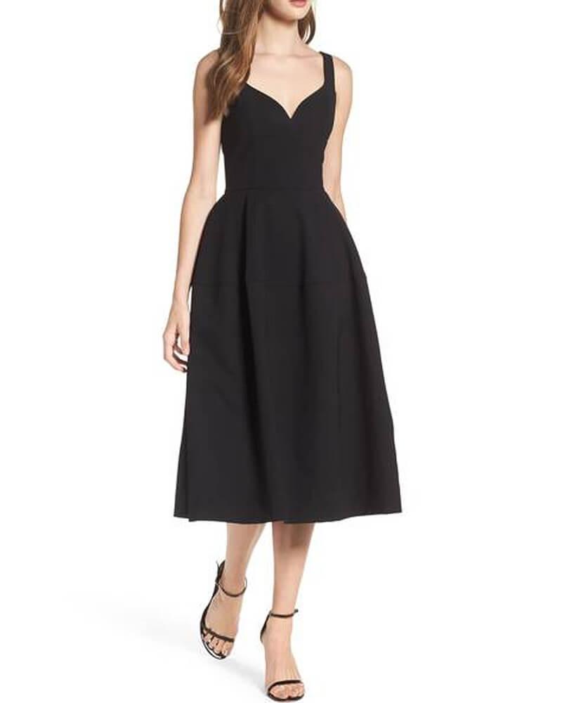 Black Fit and Flare Midi Dress