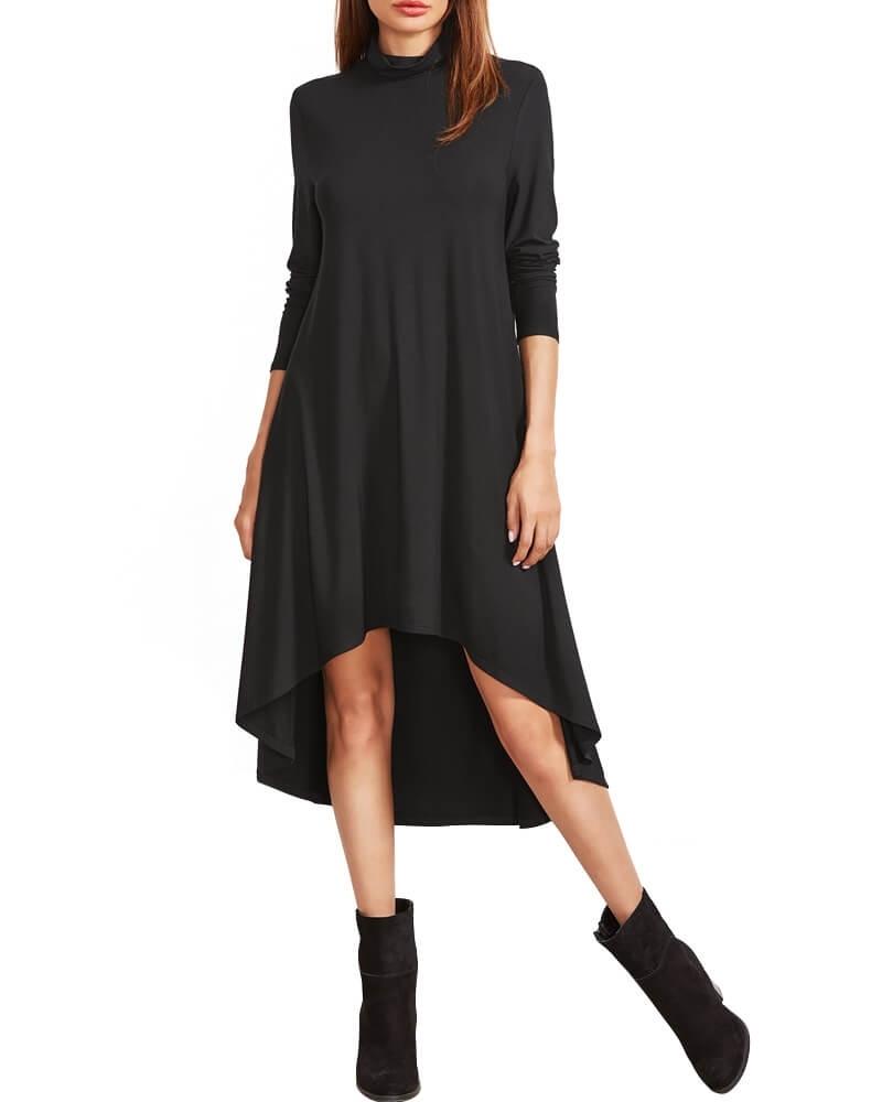 Solid Black High-Low Hemline Dress