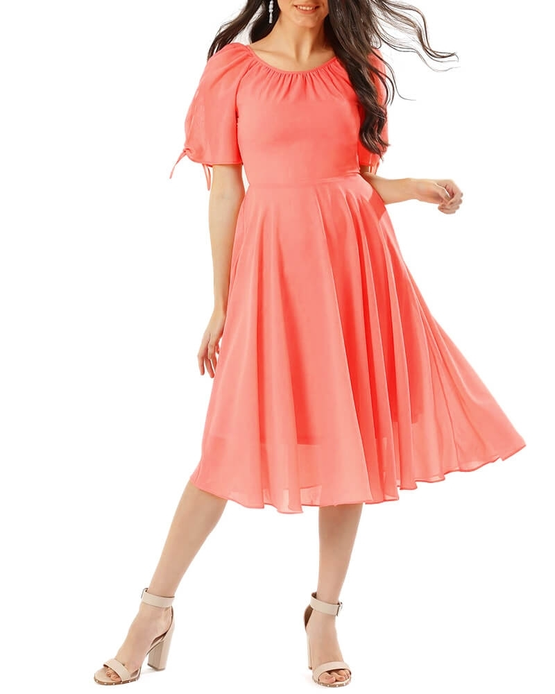 Cute Coral Fit and Flared Midi Dress