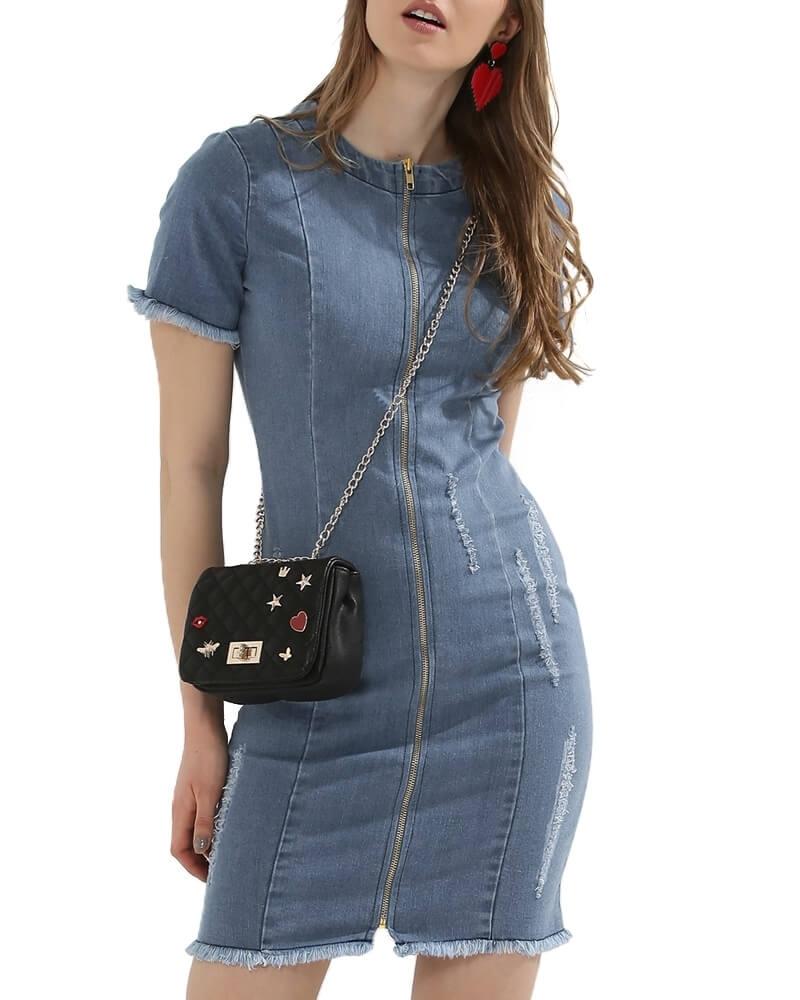 Zip Through Mini Denim Dress for Women