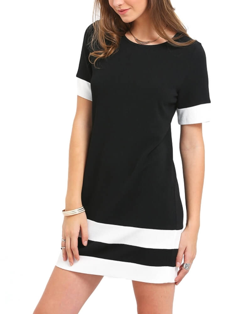 Cute Monochrome Block Striped Shift Dress